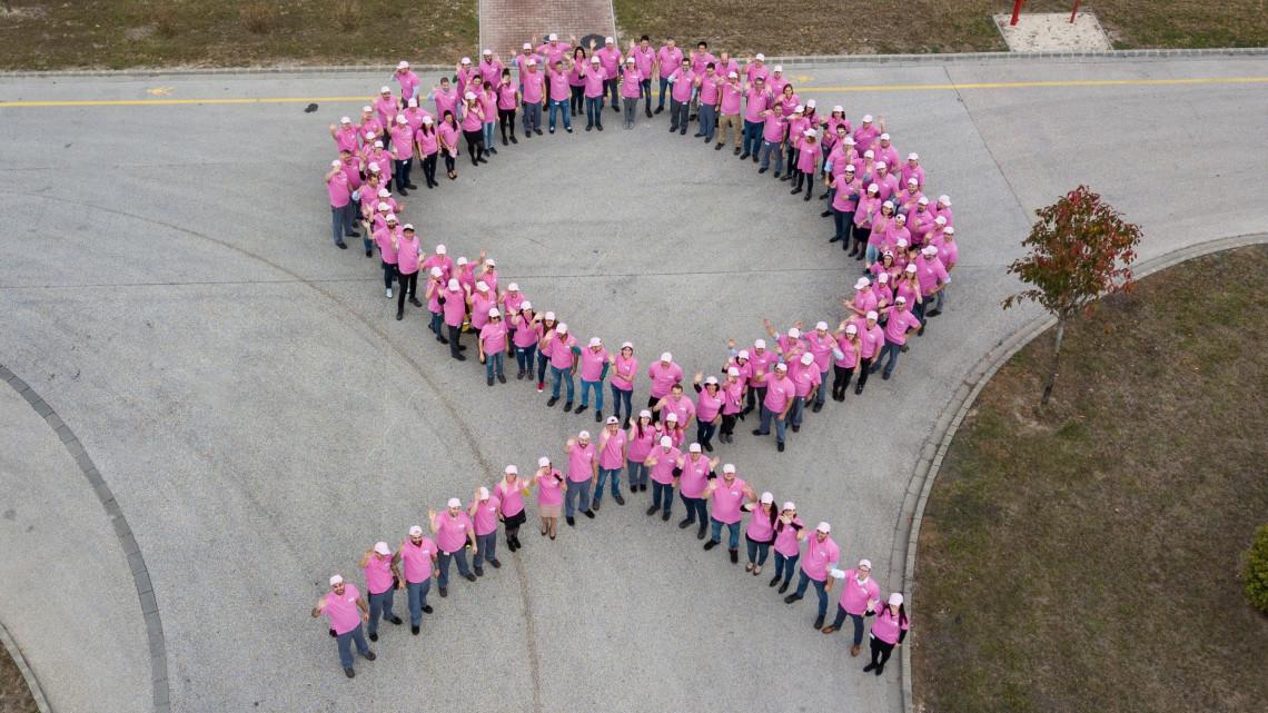 Rózsaszínbe borult a tatabányai gyár: erre hívják fel a dolgozók figyelmét